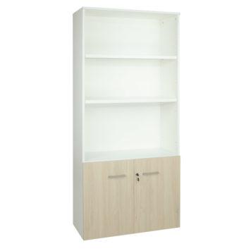 Armario librería alto. Serie Básica. Con puertas bajas y estantes. Color blanco y roble midas