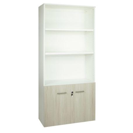 Armario librería alto. Serie Básica. Con puertas bajas y estantes. Color blanco y fresno stella