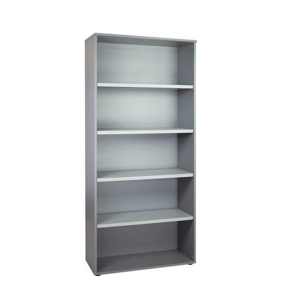 Librería alta sin puertas, con cuatro estantes. Color gris naval
