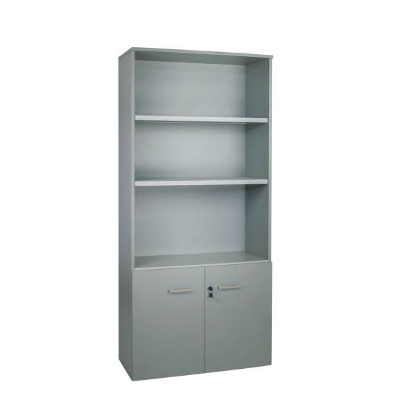 Armario librería alto. Serie Básica. Con puertas bajas y estantes. Color gris naval