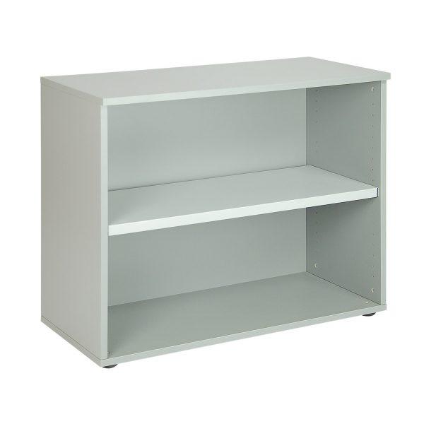 Librería baja sin puerta, con un estante. Color gris naval