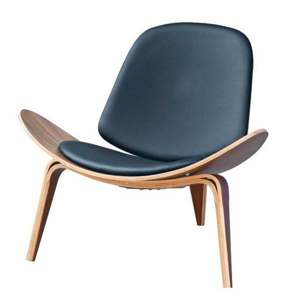 Vista frontal y detalle de la forma de patas sillón Nordic negro