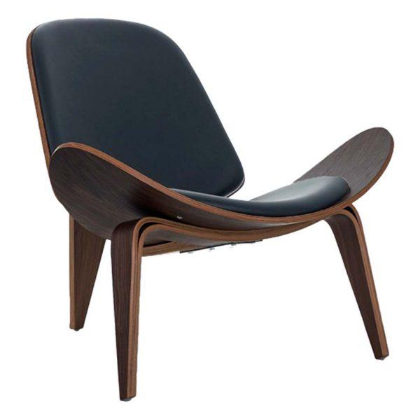 ista frontal y detalle del asiento y pata del sillón Nordic negro.