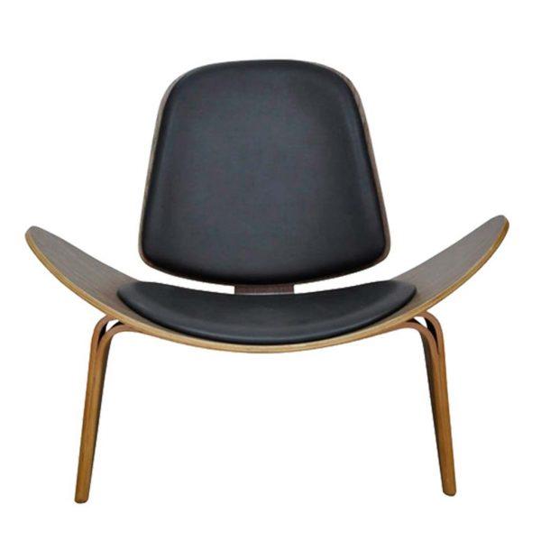 ista frontal y detalle del asiento del sillón Nordic negro.