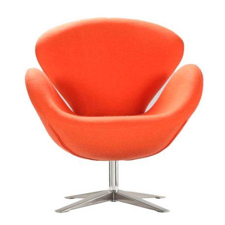 Vista frontal sillón lugo cachemir naranja