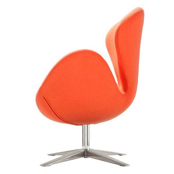 Vista lateral detalle base giratoria y brazo sillón Lugo cachemir naranja