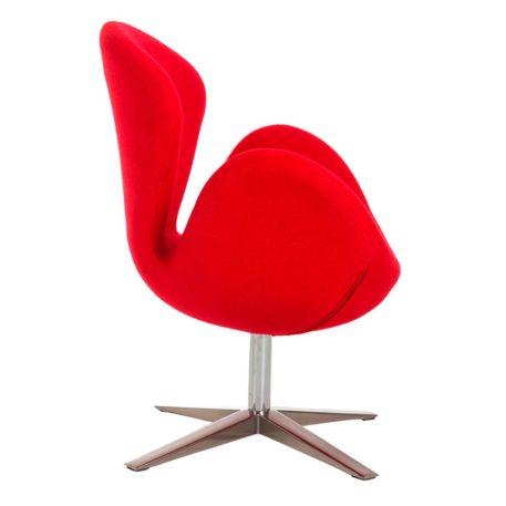Vista lateral detalle base giratoria y brazo sillón Lugo cachemir rojo
