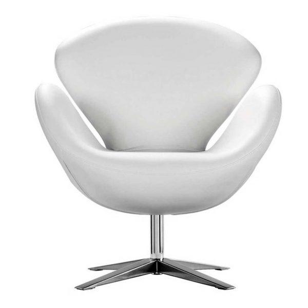 Vista frontal sillón lugo similpiel blanco
