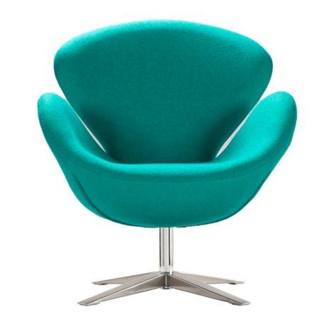 Vista frontal sillón lugo cachemir turquesa