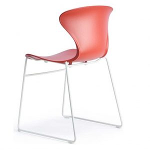 vista trsera silla Surf sin brazos base patín blanco asiento y respaldo teja