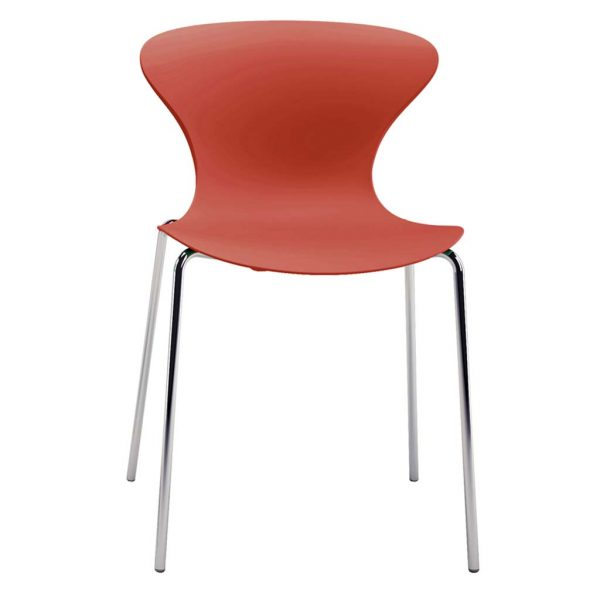 Vista frontal silla Surf cuatro patas cromadas asiento y respaldo teja