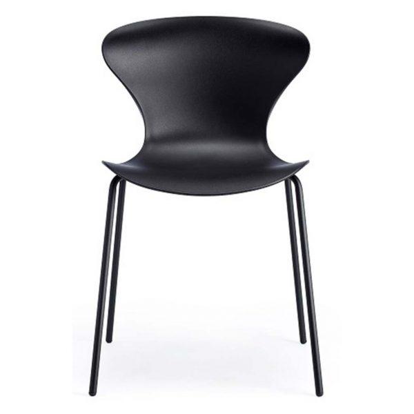 Vista frontal silla Surf cuatro patas negra asiento y respaldo negro