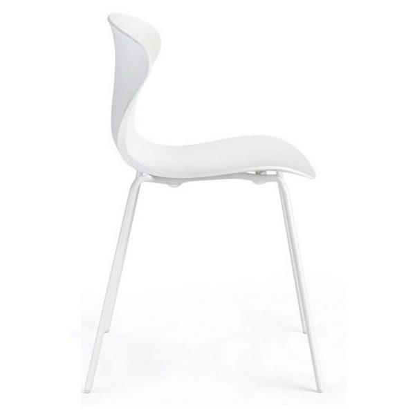 vista lateral silla Surf estructura blanca Asiento y respaldo blanco