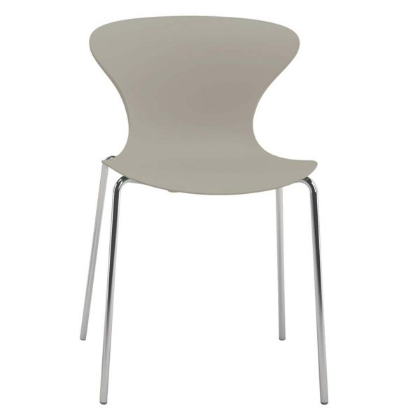 Silla Surf sin brazos, estructura cuatro patas cromada, asiento respaldo marfil.