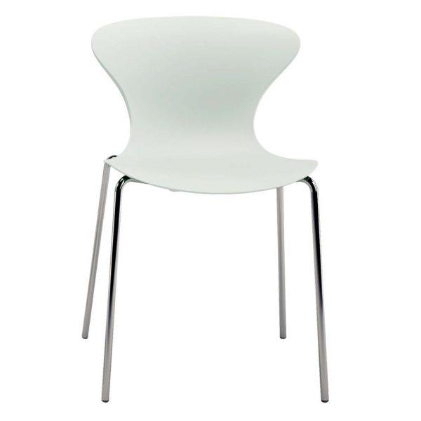 Silla fija sin brazos modelo Surf estructura cuatro patas cromadas asiento y respaldo blanco.