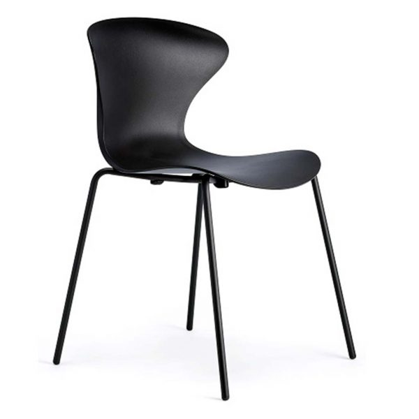 Silla Surf cuatro patas negra asiento y respaldo negro