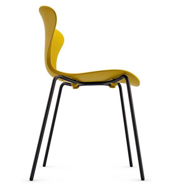 Vista lateral inferior con detalle de la estructura silla Surf base 4 patas negra asiento y respaldo pistacho