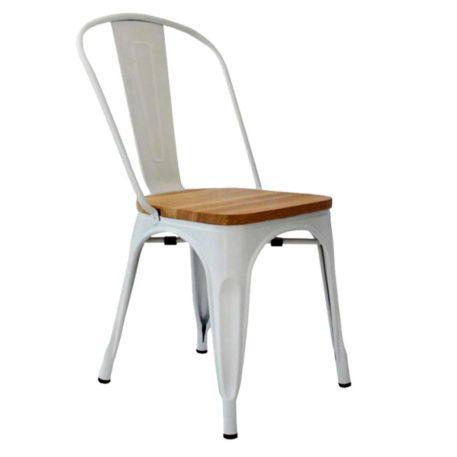 silla cuatro patas toly metal y madera sin brazos en blanco