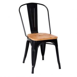 silla cuatro patas toly metal y madera sin brazos en negro.