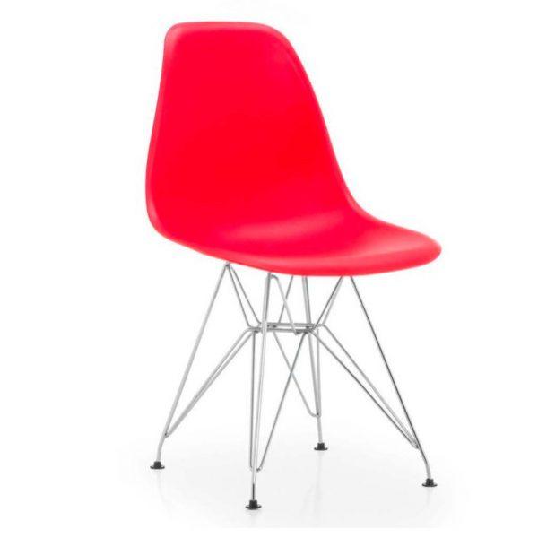 vista silla golf va estructura cromada carcasa roja