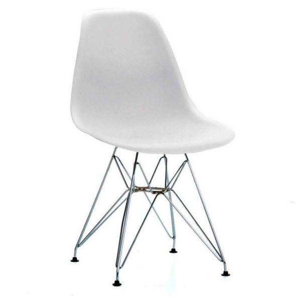 vista silla golf va estructura cromada carcasa blanca