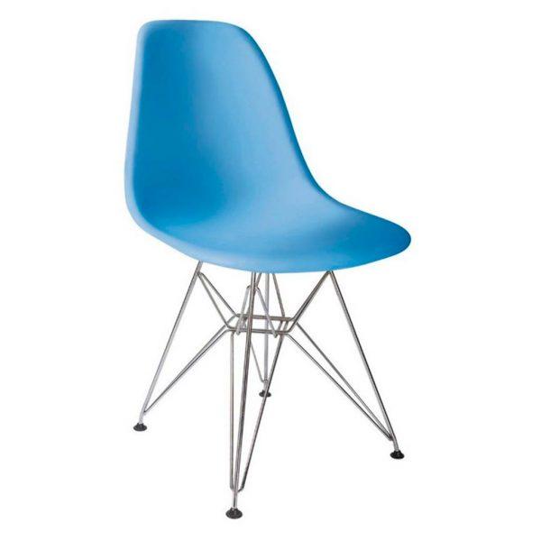 vista silla golf va estructura cromada carcasa azul