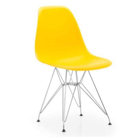 vista silla golf va estructura cromada carcasa amarilla