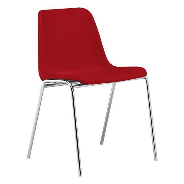 silla monocarcasa Polo estructura de cuatro patas cromada asiento y respaldo rojo