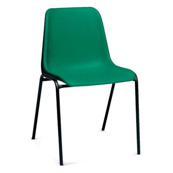 silla monocarcasa Polo estructura de cuatro patas negra asiento y respaldo verde