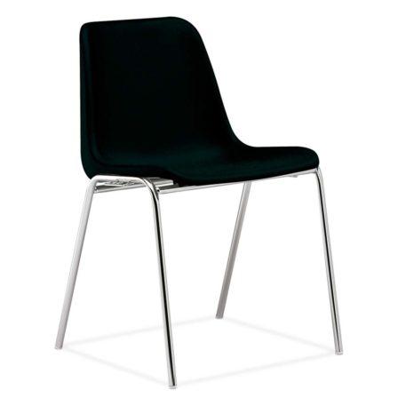 silla monocarcasa Polo estructura de cuatro patas cromada asiento y respaldo negro