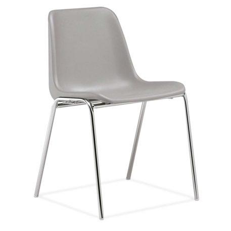 silla monocarcasa Polo estructura de cuatro patas cromada asiento y respaldo gris