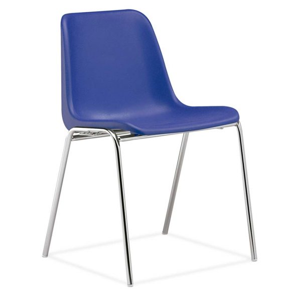 silla monocarcasa Polo estructura de cuatro patas cromada asiento y respaldo azul