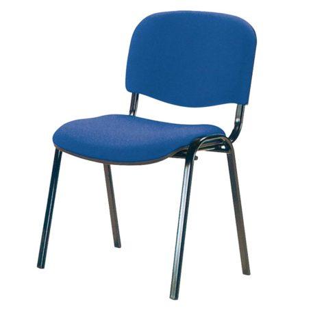 vista silla fija futsi, sin brazos, de cuatro patas tapizada azul