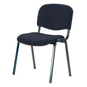 vista silla fija futsi, sin brazos, de cuatro patas tapizada negra.