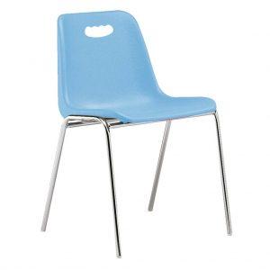vista silla Vela estructura cuatro patas cromada respaldo con asa color azul claro