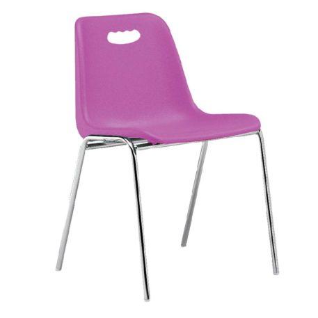 vista silla Vela estructura cuatro patas cromada respaldo con asa color fucsia