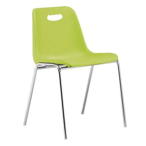 vista silla Vela estructura cuatro patas cromada respaldo con asa color verde acido