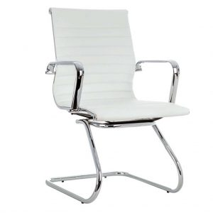Vista de sillón con brazos modelo Activity 6 cromado y blanco