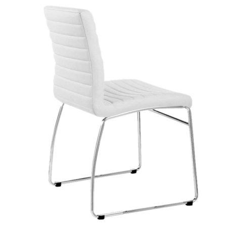 vista trasera detalle respaldo silla Carlota blanca con base patín.