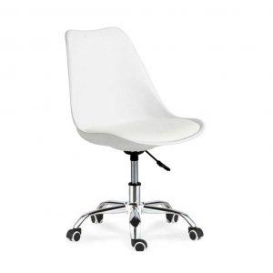 silla monocarcasa blanca con base giratoria con ruedas cromada