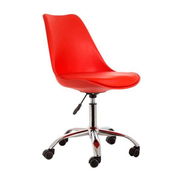 silla monocarcasa roja con base giratoria con ruedas cromada