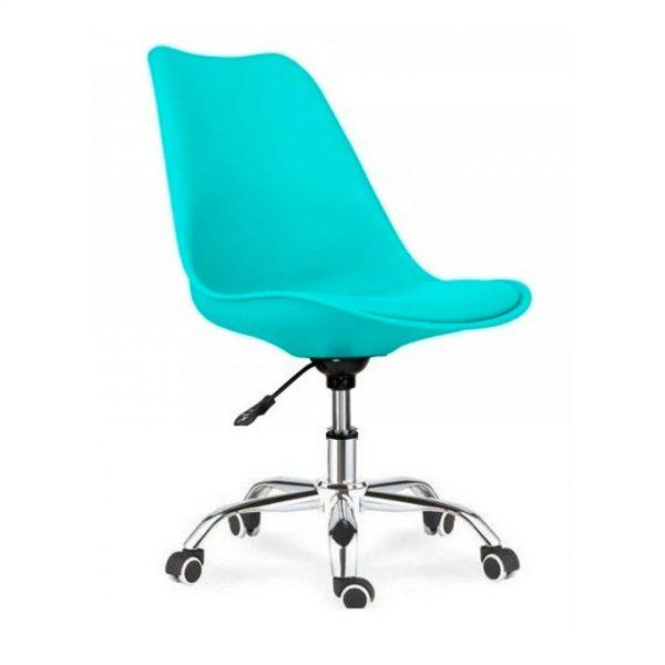 silla monocarcasa turquesa con base giratoria con ruedas cromada