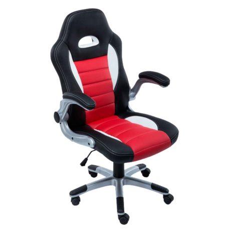 sillon respaldo alto tapizado en simil piel rojo negro y blanco con ruedas