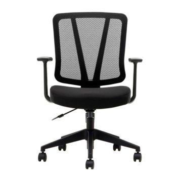 vista frontal de silla arnoia asiento tapizado y respaldo malla, base giratoria negra