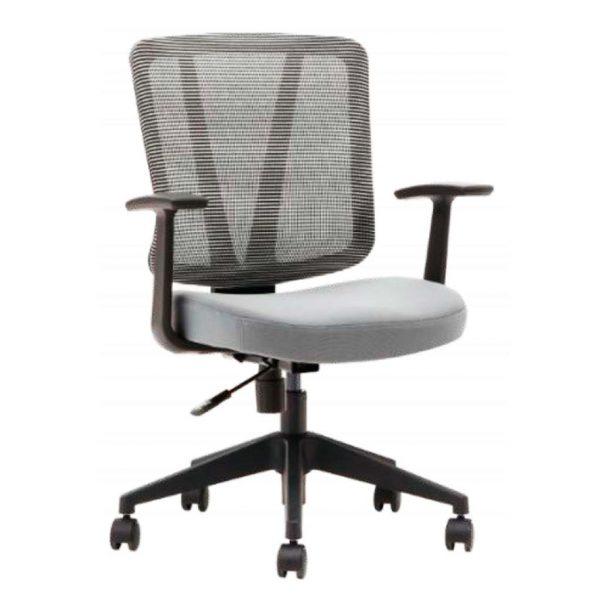 Silla Arnoia con brazos, giratoria asiento tapizado y respaldo en tejido mesh