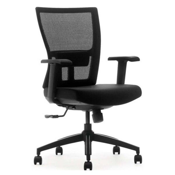 silla miño respaldo en mesh negra y asiento tapizado negro con brazos