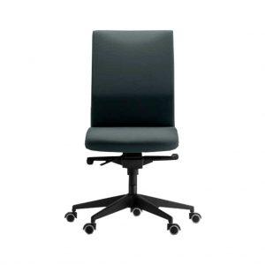 vista frontal silla zen sin brazos tapizada en tela gris.