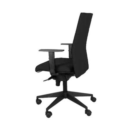 vista lateral silla zen con brazos asiento y respaldo tapizado negro