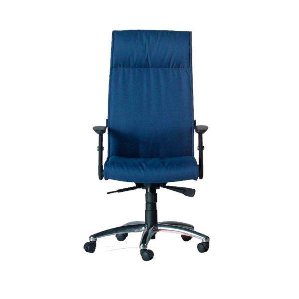 Sillón respaldo alto brazos regulables base giratoria tela azul