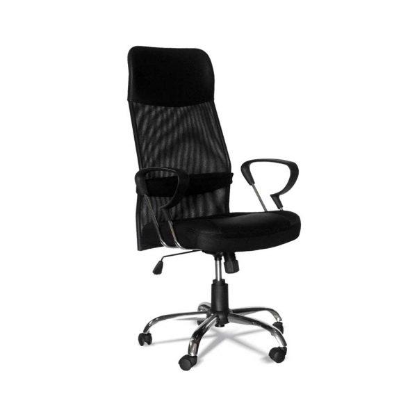 sillon tender giratorio respaldo alto con resposcabezas en red asiento tapizado negro con brazos